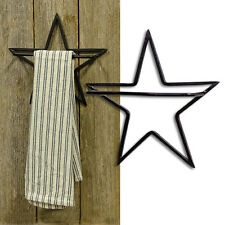 NEW BLACK STAR HAND TOWEL HOLDER Rustic Metal Primitive Country Kitchen Bath