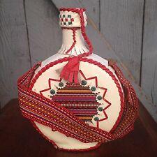 Vintage Spectacular Leather Covered Folk Art Round Bottle Flask w/ Cloth Handle