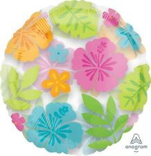 "Lot of 5 Anagram Wild Isle Magicolor Tropical Luau Flower 18"" Balloons Clear"