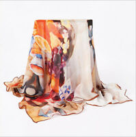 100% silk scarf georgette square scarf oil painting four seasonal use 120*120cm