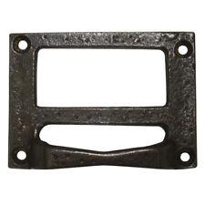 Vintage Black Metal 70mm x 53mm Drawer Locker Name Tag Holder Handles VINT9547