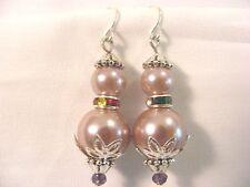 Drop Pink Glass Pearl Earrings Sterling Silver .925 Hook Bullock & Dorchester