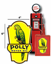 """(POLLY-LUB-4) 6"""" left facing POLLY LUBSTER DECAL GAS OIL CAN PUMP STICKER"""