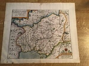 ANTIQUE MAP CARMARTHEN (CAERMARDI) 1637 BY SAXON/KIPP FROM CAMDEN'S BRITANNIA