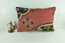 Kilim Pillow Cover 16x24 Traditional Oushak Rug Handmade Lumbar Cushion 3109