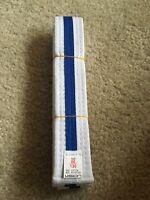 New White w Blue Tae kwon do belt Karate Judo Martial Arts sz 00/130