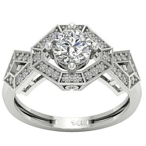 I1 G 1.20 Ct Designer Round Cut Diamond Solitaire Ring 14K Solid Gold 10.65 mm
