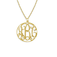 Monogram Necklace Personalized 18kt Gold Plated on Sterling Silver (USA Seller)