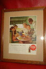COCA COLA 1948 oak Framed original magazine ad advertising TRAIN coke soda pop