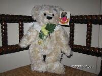 Metro Soft Toys UK Daisy Bear 4th LE 13 Inch White Jointed Teddy Bear Plush