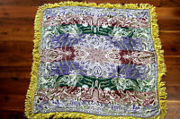 """RARE FRENCH VINTAGE 1940'S-50'S MIDDLE EASTERN MOTIF SATIN BROCADE SCARF 49""""X47"""""""
