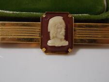Vintage Anson USA Gold tone Tie Bar Clasp Resin Cameo Carnelian Soldier
