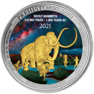 2021 CONGO MAMMOTH 1 OZ SILBER FARBE AUSGABE NUR 50 STÜCK COA v2