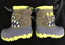 NWT Cat and Jack Toddler Boys Warm Thermolite Snow Boots Green Monster Size 4
