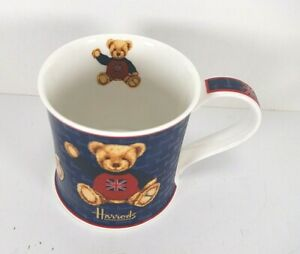 Harrods Knightsbridge Teddy Bear Union Jack Flag Blue Mug England UK Bone China