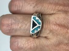 Vintage Southwestern Turquoise Silver White Bronze Inlay Size 7 Ring