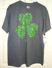 New Mens Large 42-44 Shamrock Green Clover T-Shirt St. Patrick's Day Gray