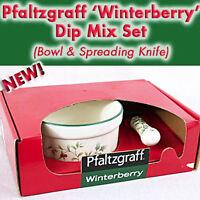 Pfaltzgraff WINTERBERRY CHEESE Serving BOWL DIP MIX SET w.Knife Spreader NEW IB!