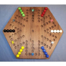 Wooden Marble Aggravation Game Board- 6-Player - 5-Hole - Oiled, Black Walnut