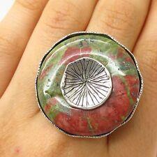 Israel 925 Sterling Silver Unakite Gem Modernist Floral Design Wide Ring Size 8