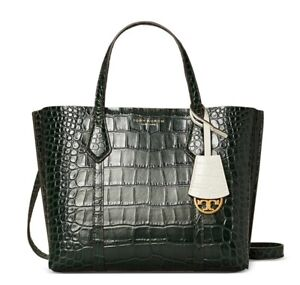 NWT TORY BURCH SMALL PERRY EMBOSSED TRIPLED COMPARTMENT TOTE BAG DEEP KELP GREEN