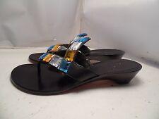 NWOB Cole Haan Womens 6.5 Black Leather Jeweled Wedge Flip Flops Thongs Sandals