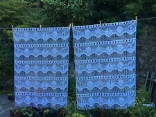 Pair Vintage French White & Blue Lace Curtains  Boats/Seashells 144cmW x 101cmL
