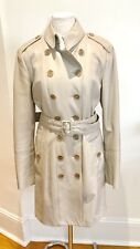 Burberry Cream Leather Double Breasted Belt Trench Coat UK12