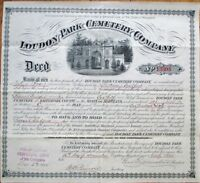 Loudon Park Cemetery - Baltimore, MD 1893 Large Deed/Certificate - Version 2