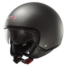 LS2 Of561.1 Wave Matt Black Open Face Motorcycle Helmet Jet Scooter Lightweight M Titanium