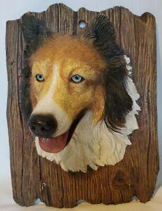 German Shepherd Dog Leash Hanger Heavy Ceramic Wall Key Rack Holder 2 Hooks 3D
