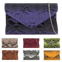 Ladies Snake Skin Print Bag Women Faux Leather Shoulder Bags New