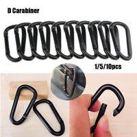 Durable mousqueton aluminium noir D-Ring Chaîne Clip Camping Crochet Porte-clés