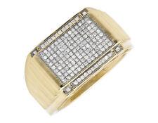 10K Yellow Gold Multi Row Genuine Diamond Step Shank Wedding Band Ring 0.50ct.