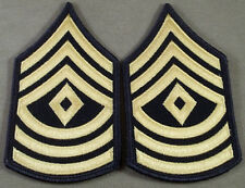 "US Army ASU Sleeve Rank Insignia First Sergeant E-8 Blue/Gold 2 5/8"" Wide"