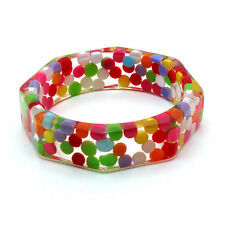 Clear Resin Multicolor Little Pill Octagon Bangle