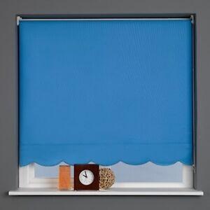 Sunlover Quality Roller Blinds. Scallop Edge Riviera Blue. Widths 60cm - 240cm