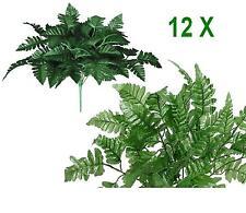 """Lot of 12 18"""" Green Leather Fern Leaf Plant Silk Flower Wedding Home Decor Craft"""