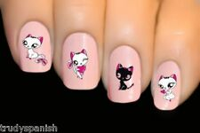 Nail Art Water Decals Transfers Cute Pink Kitten Cat UV Tips Decoration (1497)