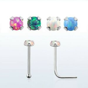 Genuine 925 Sterling Silver Pin L Shape Piercing Nose Stud With 1.5mm round Opal