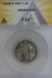 1918-D   .25   ANACS  F 12    Standing Liberty Quarter, Liberty 25 Cents