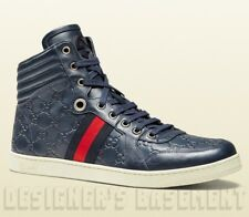 GUCCI Mens 9.5G* blue CODA GUCCISSIMA leather High Top Sneakers NIB Authent $595