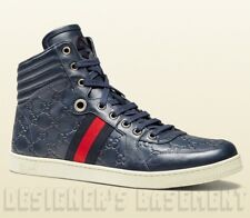 GUCCI Mens 10G* blue CODA GUCCISSIMA leather High Top Sneakers NIB Authentc $595