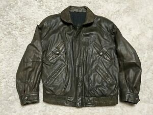 Angelo Litrico Leather Jacket Bomber Lined 50 Cowhide Polar Expedition