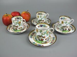 Antique vtg set of 4 Spode Copeland Coffee Cups Cans. Pattern 2118. Bird Peacock