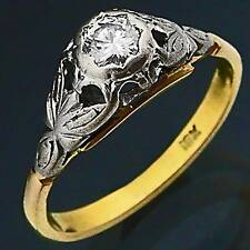 Old Vintage 18k Solid Yellow GOLD DIAMOND Solitaire RING Val=$2500 Sz M