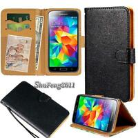 Black Flip Cover Stand Wallet Leather Case For Samsung Galaxy Core/Grand Phones