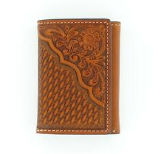 Nocona Mens Leather Tooled Wallet - Tan Trifold