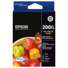 Epson Genuine 200XL Blk, C, M, Y 4-Pack of Ink for WORKFORCE 2530