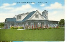 LACHINE,MICHIGAN-LODGE AT TAYLOR & HAWKS CAMP-LINEN-(POSTED)(MICH-LMISC)